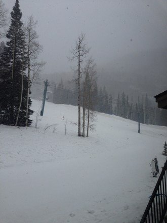 Snowing right now in Durango! It's 12:21 and it has been snowing for about 30 minutes.