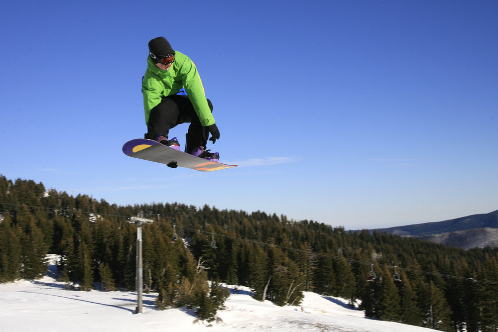 Flying high at Mt. Hood Meadows on a bluebird day. - © Jay Chrisman