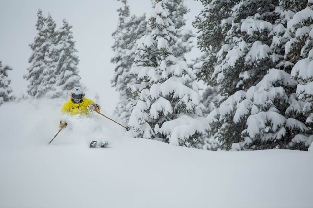 Skier enjoying the fresh powder in Aspen, early December 2013. - © Jeremy Swanson