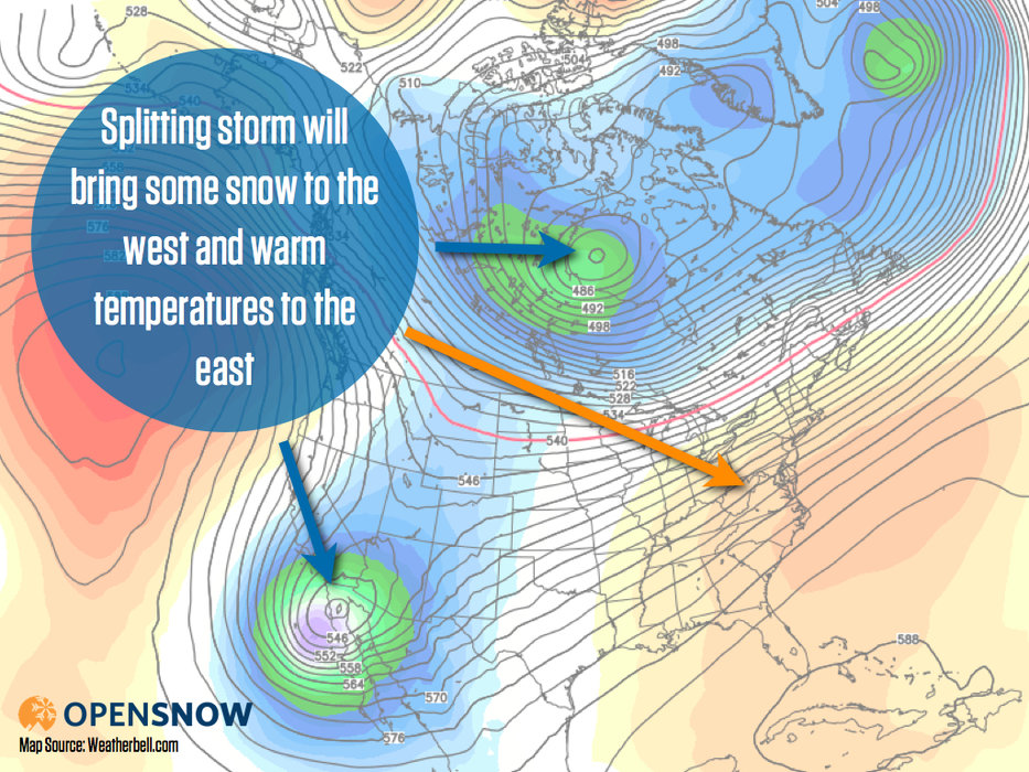 Snow will fall over the western U.S. from Wednesday through the weekend as a splitting storm moves through the region.