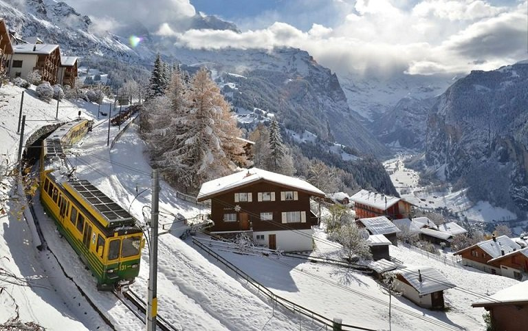 Wengen Railway is a great way of taking in the idyllic scenery. - © Wenger-Lauberhorn