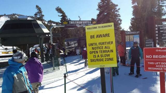 Some of the runs are actally very good condidering the lack of snow,  Expect them to be crowded though, with signs posted up like the picture in many spots.