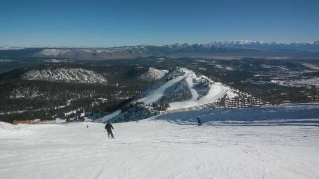more snow came down, lots of fresh powder and groomed trails. almost no ice. fun conditions.