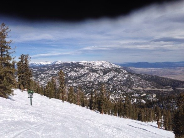 It was great on the Nevada side until wind got bad. Then wind died down mid afternoon was great. Best runs of the day.