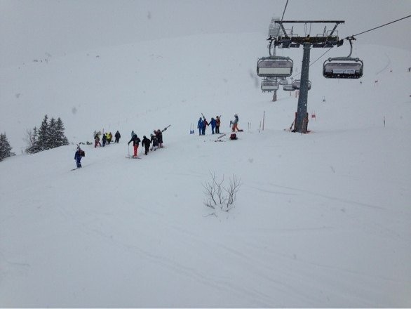 Powder over some ice and uneven terrain in spots. Good nuff
