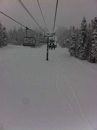 Best day of the season so far, powder to your knees to start the day and it just kept falling, here's to having the snow keep falling