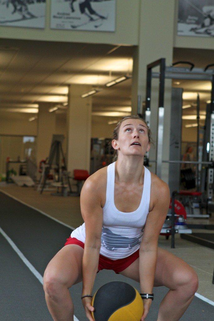 Heather Pre Season overhead Med Ball Throws