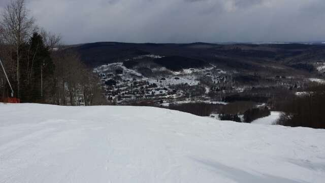 Great day of skiing.  This was taken about 1/2 hour before it started to dump fresh powder! Great job on the new terrain park on old tubing hill.