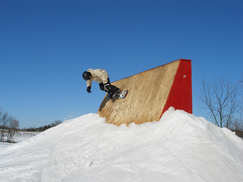 A boarder works out in one of Sunburst's three terrain parks.