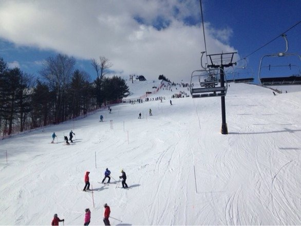 Nice day for skiing! Very few places have hard surface. Good skiing condition overall!