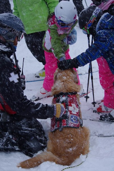 Ski Patrol and Rio teaching safety at A-bay. - ©Arapahoe Basin