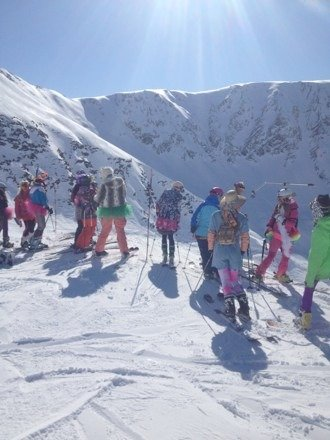 "Alyeska hosts another ""Get the Girls Out"" ski day... a day of girls outdoors playing sports, to encourage girls of all ages to get out and find their passion. For these girls, the passion is skiing/snowboarding and loving another fantastic, bluebird day."