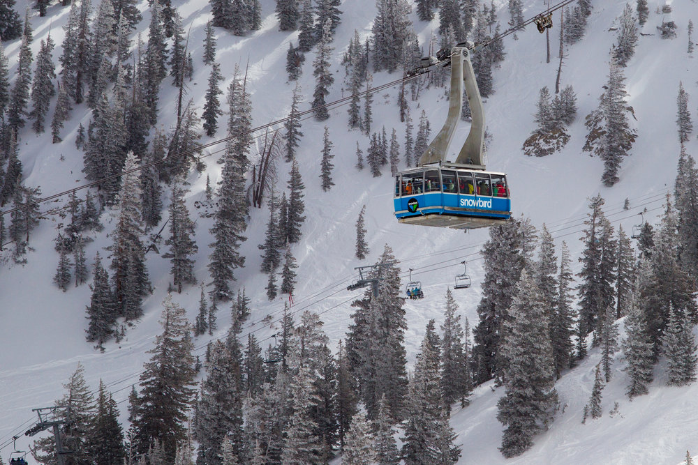 There's a reason why skiers are obsessed with Snowbird, and the tram might have something to do with it. - © Cody Downard Photography