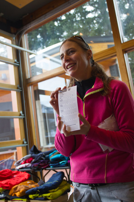 Our Ski Test Director and fearless leader, Krista Crabtree, giving the test card lowdown.  - © Cody Downard Photography