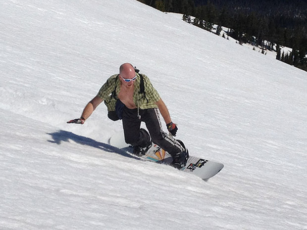 Summer skiing and riding is a way of life at Mt. Bachelor. Just try not to fall if you're going to keep you shirt unbuttoned like this guy.  - © Mt. Bachelor Resort