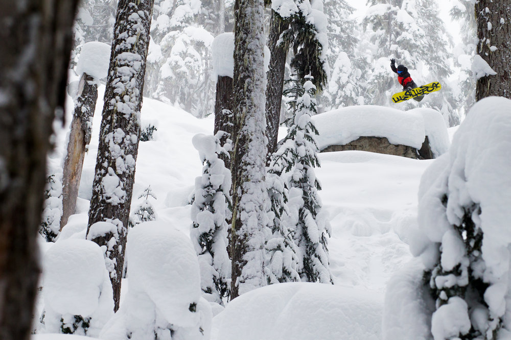 The Whistler Blackcomb regulars know the places to go to hit pillows and natural features on a powder day! - © Jussi Grznr