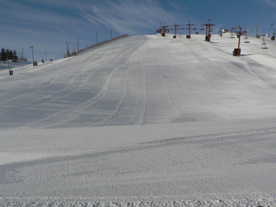 The groomed slopes of Wilmot, WI.