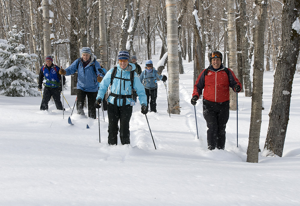 Thom Perkins, right, and companions ski through powder in a birch glade high on the Wildcat Valley Trail.