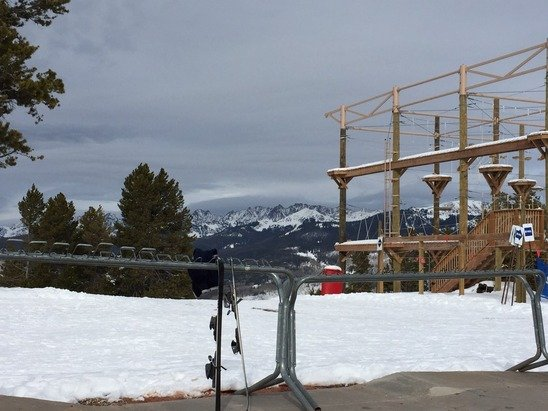 It was warm on the mountain today. It just started snowing so tomorrow should be nice. By Tuesday, it should be great.
