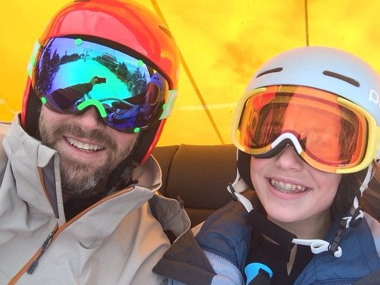 Good day today at Okemo. Soft conditions given the warmer temps, but a good start! Ridin' up on the new lift! It's gonna be great mid-winter when temps are below zero!