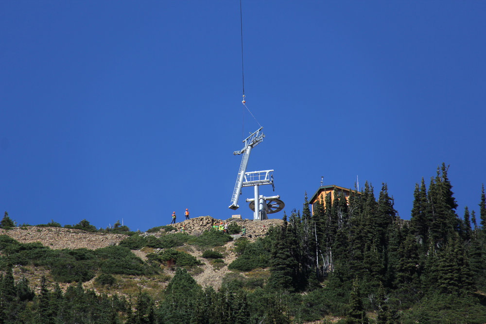 Flying towers at Crystal Mountain Resort in Washington for new lifts for winter 2014-15. - © Crystal Mountain Resort