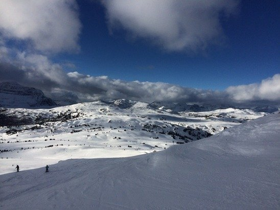 12/12, great day skiing with perfect weather. Very few areas a little icy but not bad at all.