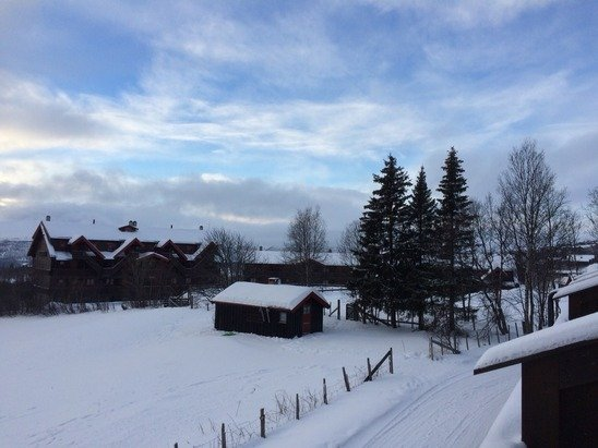 Lots of snow, around -8 degrees. Some of the ski runs are still closed as the season isn't open for the locals yet.