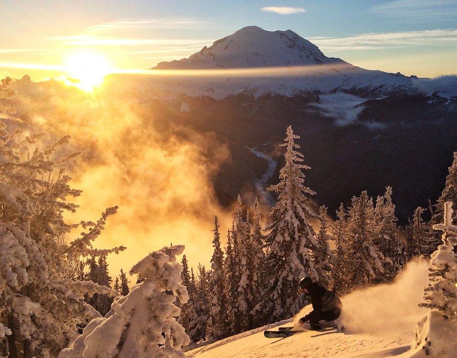 Skier Jim Delzer takes full advantage of the daylight on Dec. 26, 2014 at Crystal Mountain Resort. - ©Ingrid Backstrom