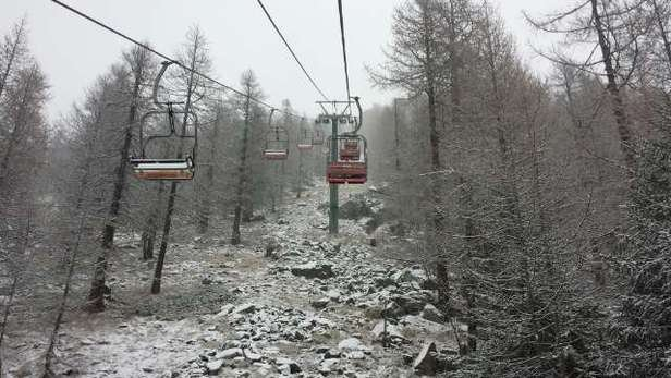 What a difference a day makes. White in the resort now - looks set for 30cm fresh today and more forecast for Saturday.