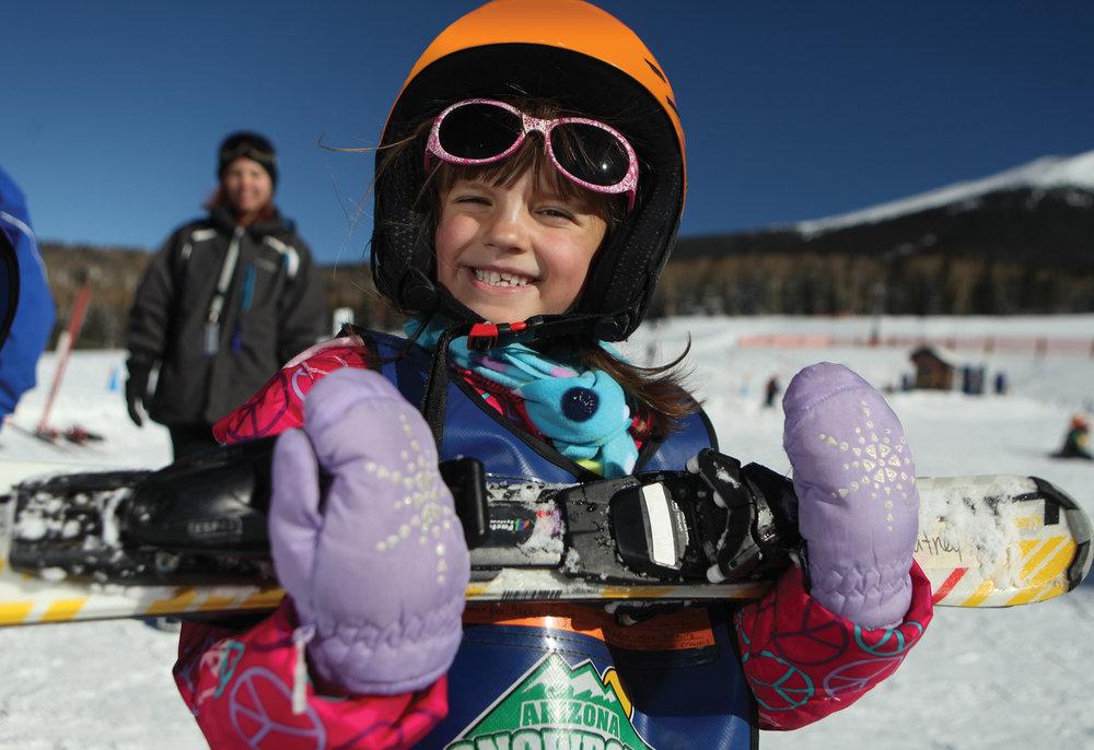 Big smiles for the fun of learning to ski. - © Arizona Snowbowl