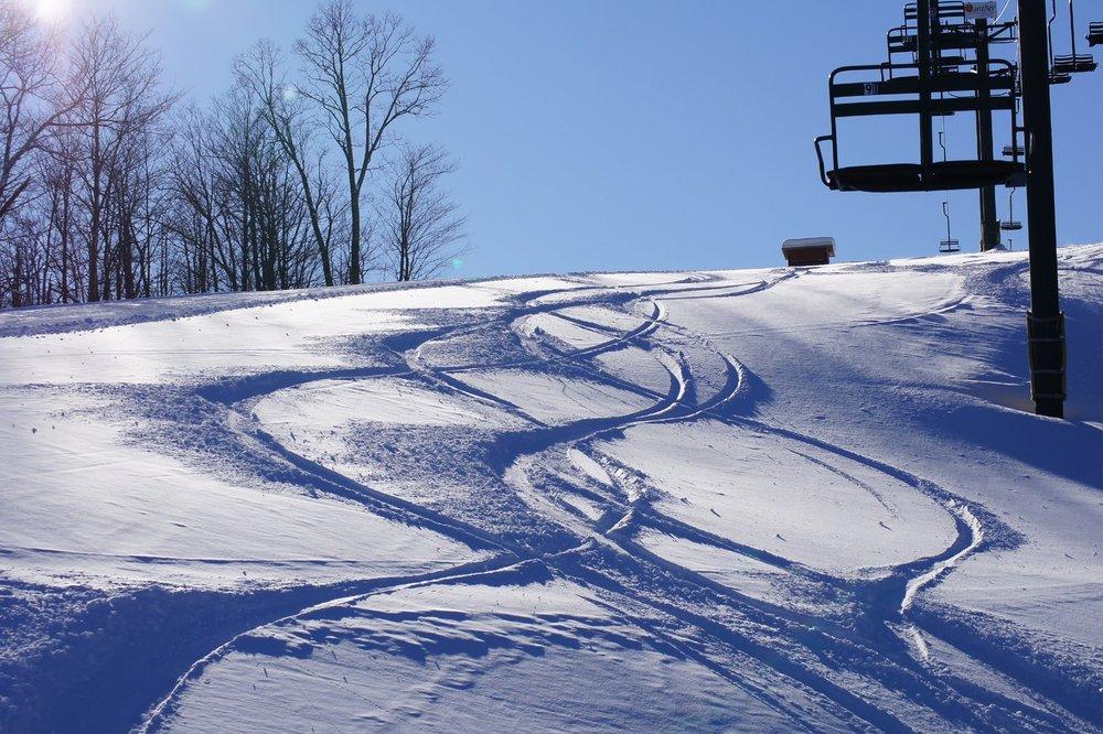 Powder tracks at Blackjack Resort. - © Blackjack Ski Resort