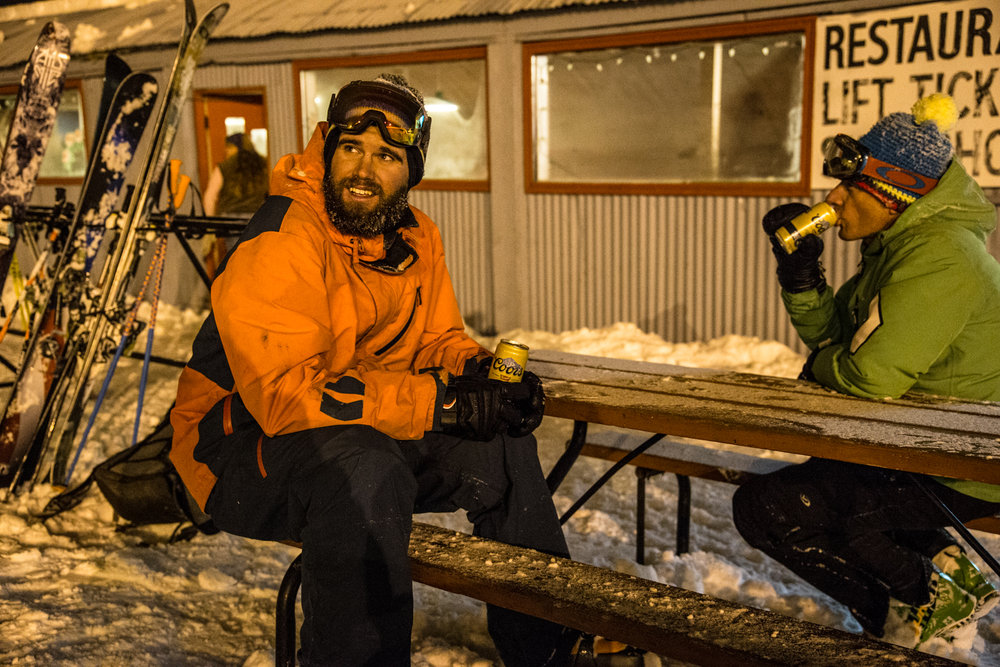 Grady James and Sven Brunso ending a long day of powder skiing that started at Wolf Creek and ended at Hesperus. - © Liam Doran