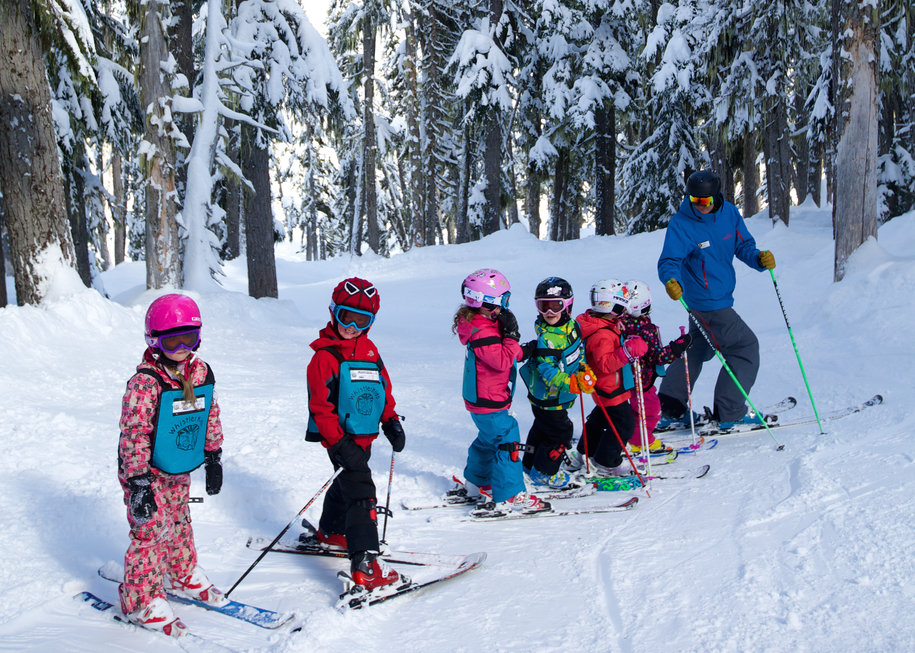 Kids in a ski school lesson at Whistler Blackcomb. - © Toshi Kawano/Whistler Blackcomb