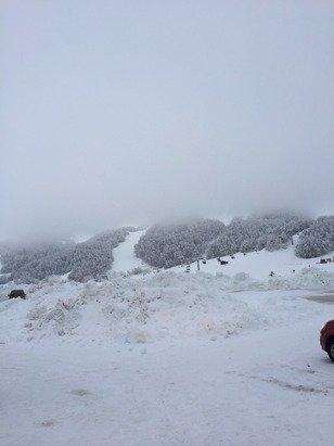 Tanta neve fresca, peccato oggi c era tanta nebbia, anfiteatro chiuso.