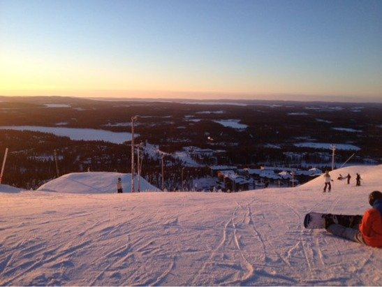 Beautiful view of Ruka village from the top of red 2