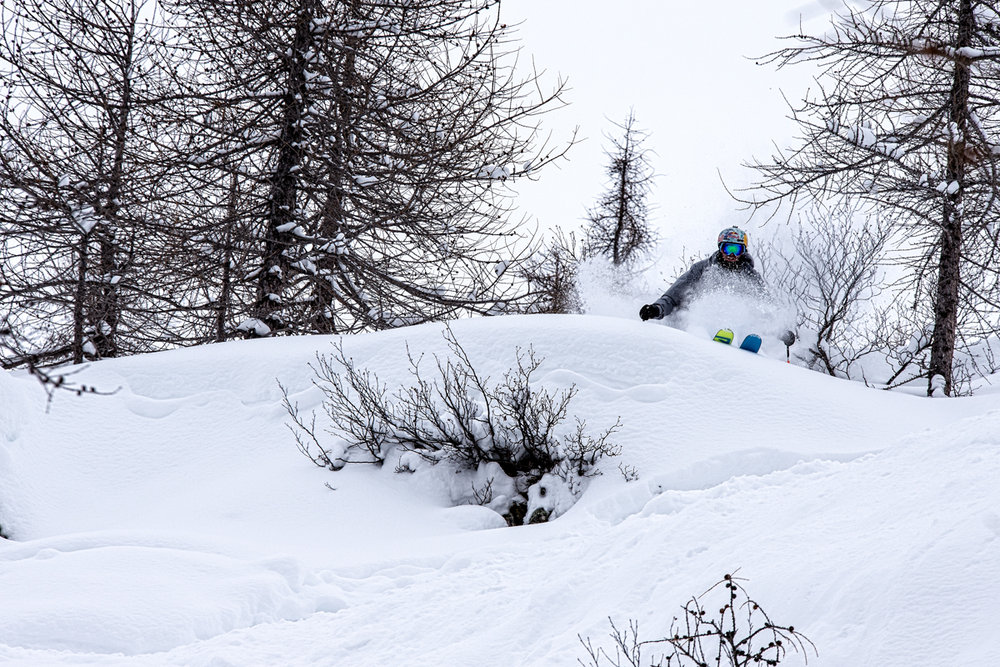 The amount of untouched powder at Monterosa will blow your mind. Bobby Brown finds another soft pillow here. - © Liam Doran/MSP
