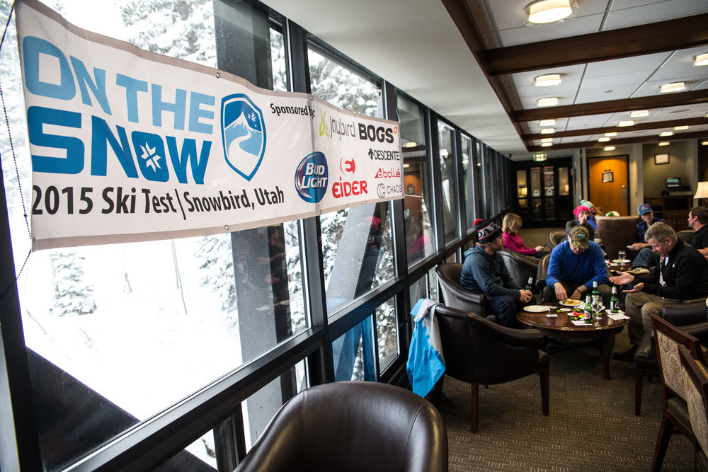 Ski Test team kicks back at the Seven Summits in Snowbird. - ©  Liam Doran