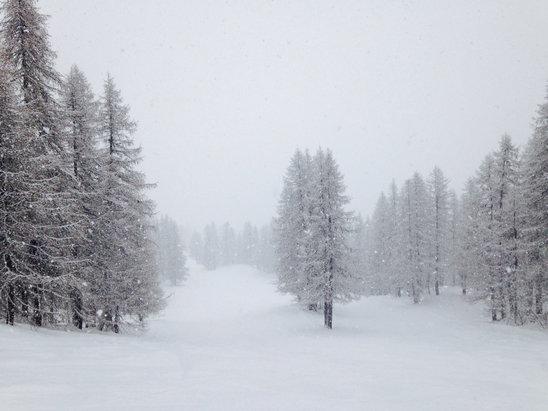 Puy Saint Vincent - Les 10 cm de samedi redonnent une neige de qualité sur les pistes. - © Flo