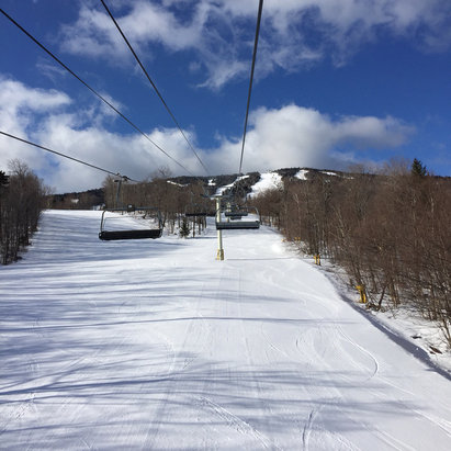 Stratton Mountain - Yet another amazing day at Stratton. No lines, corduroy, and blue bird sky!   - ©Louisa's iPhone