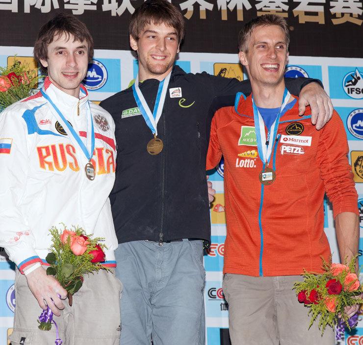 Boulder-Weltcup in Chonqing 2014: Podium Herren - © Heiko Wilhelm