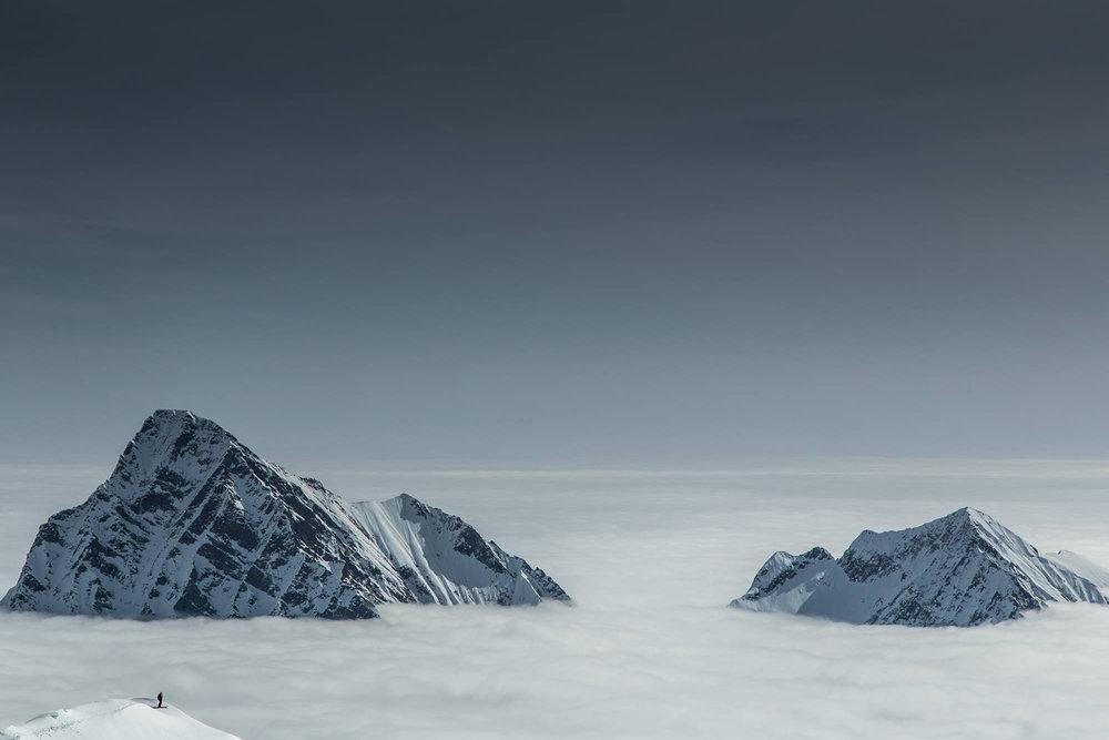 Wolkenmeer in Freerideparadies Monterosa Ski