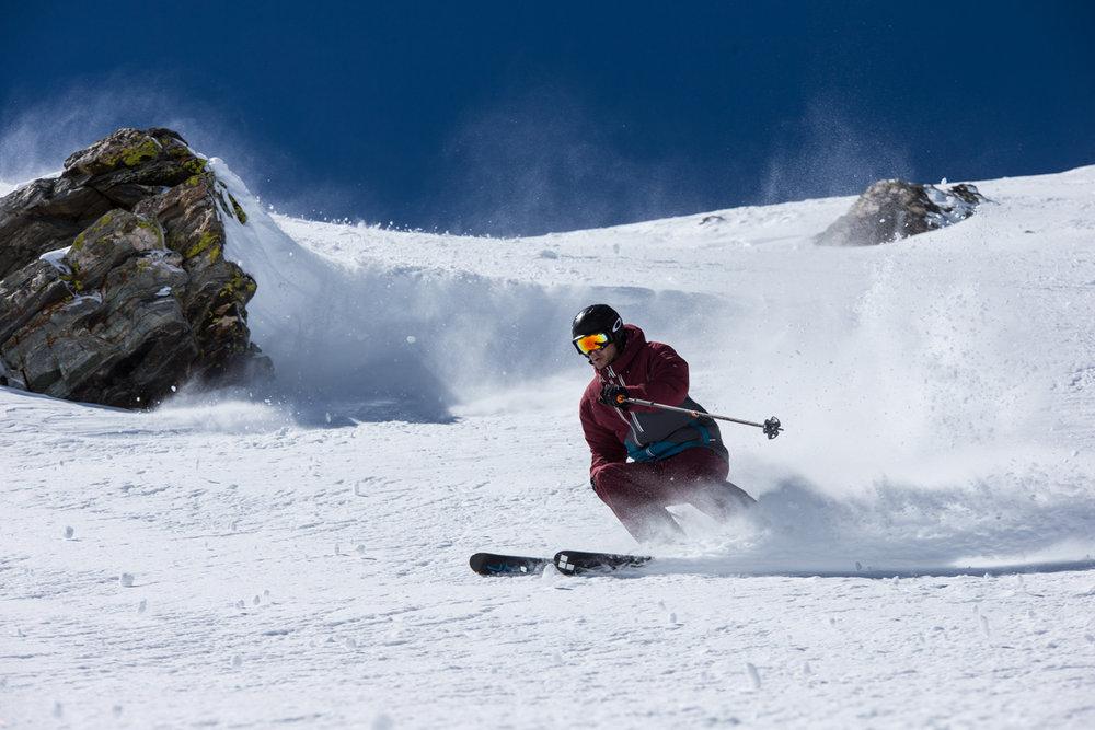 Greg Day exploring the terrain around Peak 6. - © Liam Doran