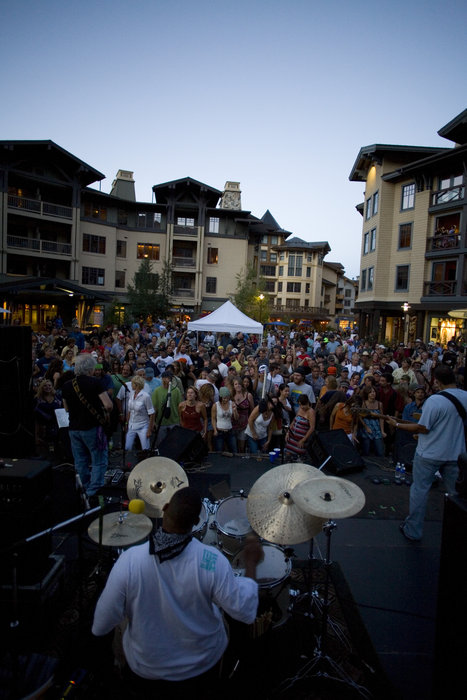 Outdoor concert in main square of Squaw Valley