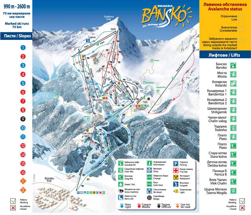 Maps Bansko Ski - © Pirinskiandgolf @ Skiinfo Lounge
