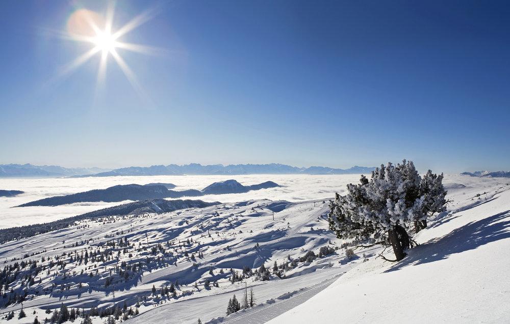 Conditions idéales (soleil et neige fraîche) sur les pistes de ski de Margériaz - © OT des Aillons-Margériaz