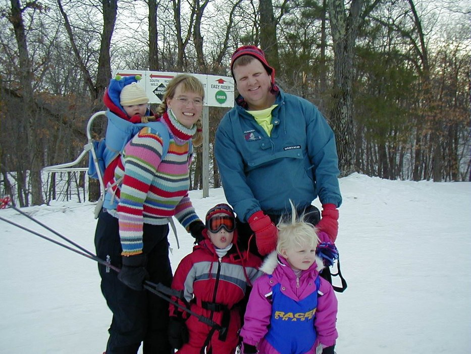 A family pauses for a photo at Wild Mountain, MN