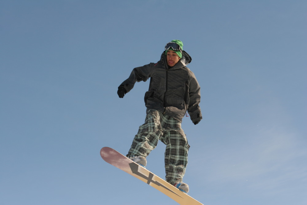 Snowboarder in the sky at Wild Mountain, MN
