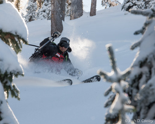 Wolf Creek Snow Safety Director Jason Lombard Skis Powder on Nov. 8, 2015 - © Josh Cooley