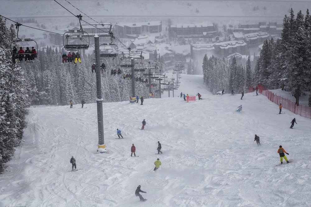 Copper Mountain skiers and riders getting down on a healthy base - © Tripp Fay