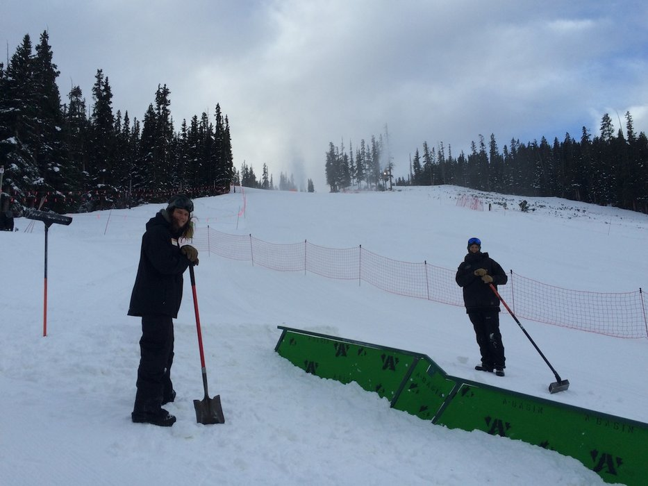 Getting the A-bay mini-park juiced for opening day  - © Arapahoe Basin Ski Area